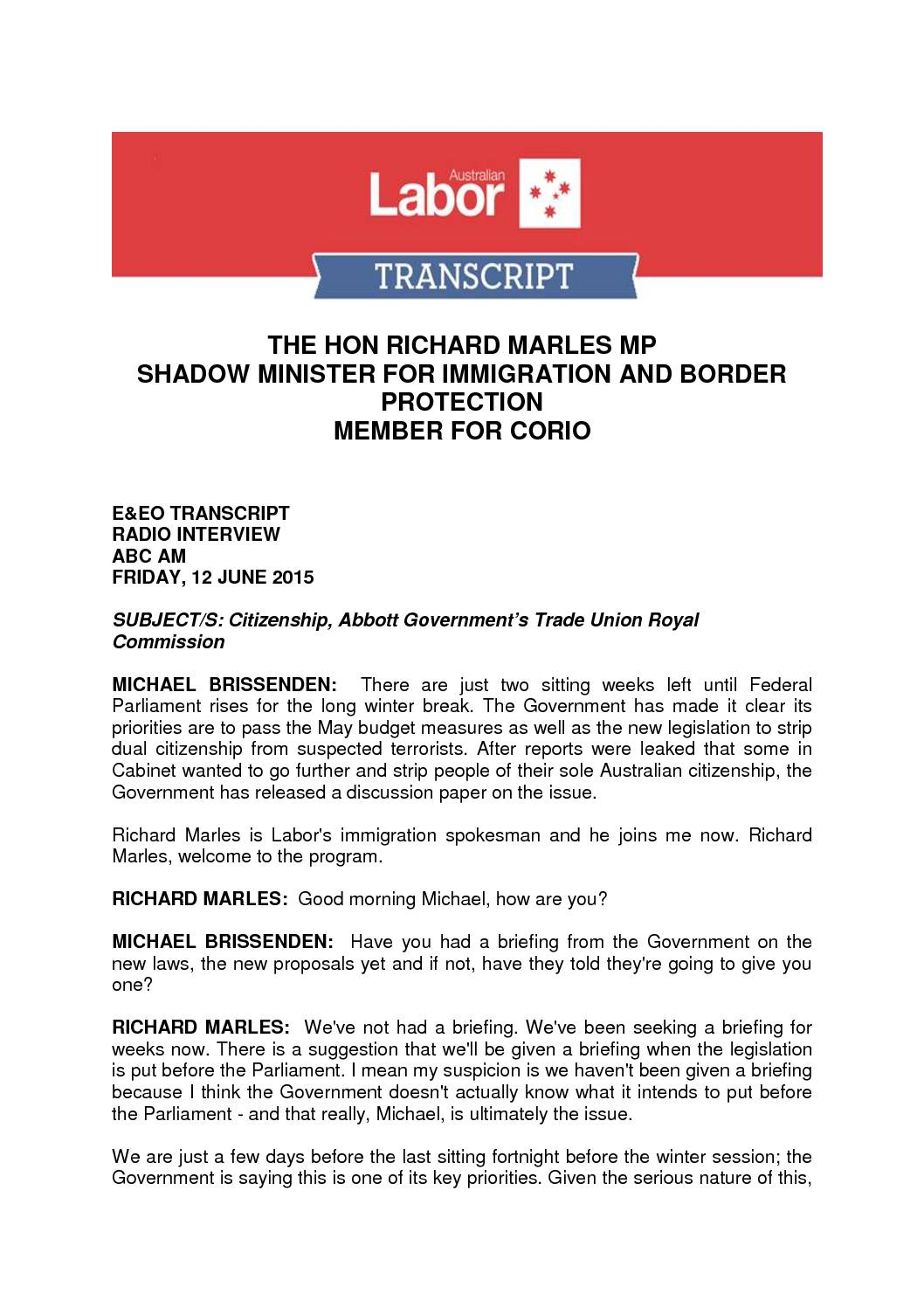 15.06.12 RICHARD MARLES TRANSCRIPT ABC AM