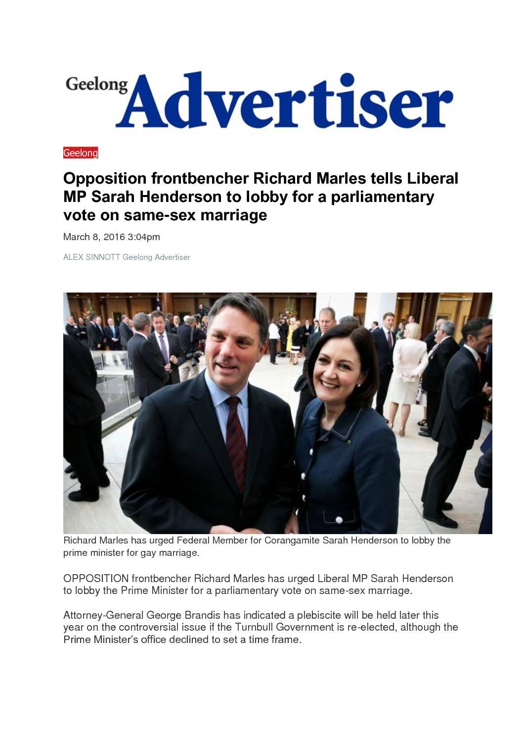 16.03.08 Same Sex marriage – Geelong Advertiser