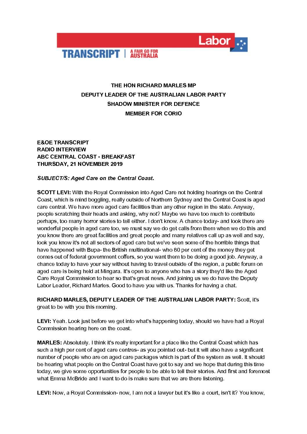 19.11.21 ABC RADIO CENTRAL COAST BREAKFAST WITH SCOTT LEVI – TRANSCRIPT