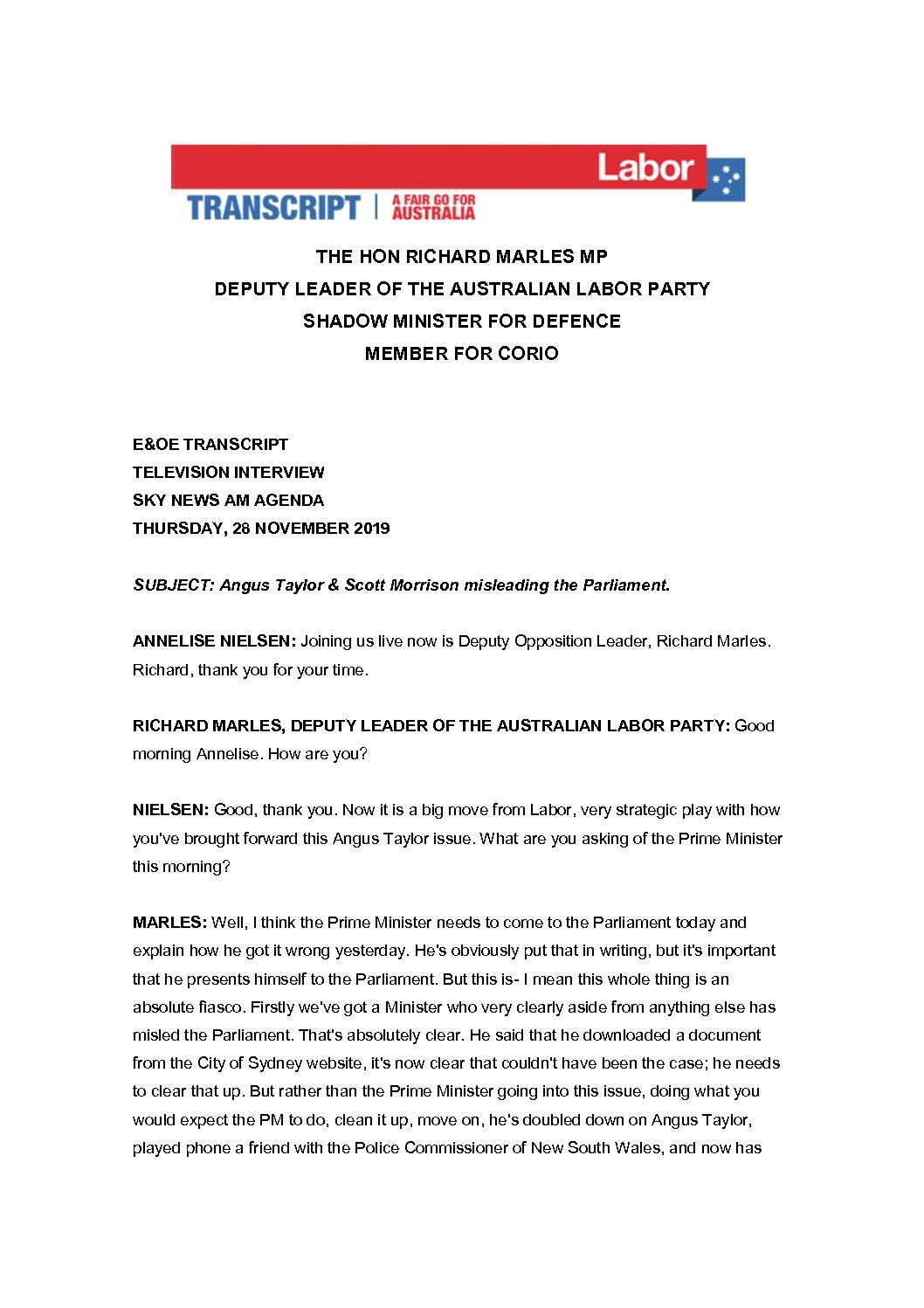 19.11.28 SKY NEWS AM AGENDA – TRANSCRIPT