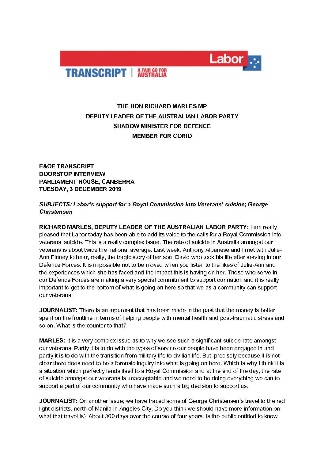 19.12.03 DOORSTOP INTERVIEW PARLIAMENT HOUSE CANBERRA – TRANSCRIPT