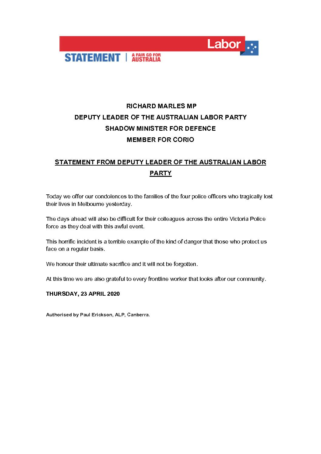 20.04.23-STATEMENT-FROM-DEPUTY-LEADER-OF-THE-AUSTRLALIAN-LABOR-PARTY