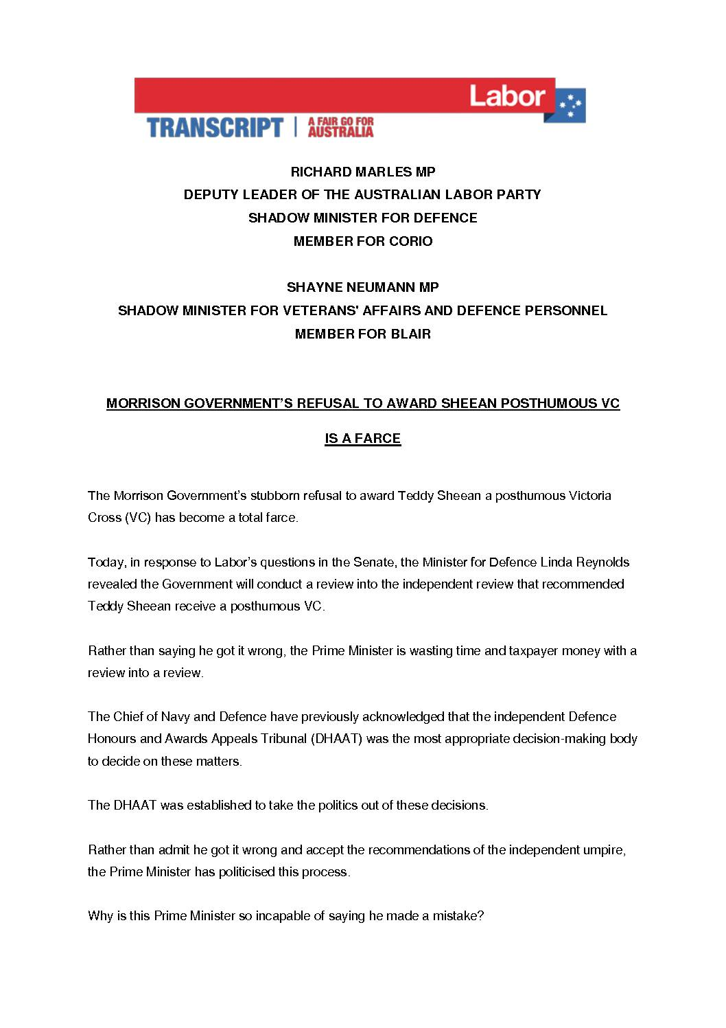 20.06.11-MORRISON-GOVERNMENTS-REFUSAL-TO-AWARD-SHEEAN-POSTHUMOUS-VC-IS-A-FARCE-TRANSCRIPT