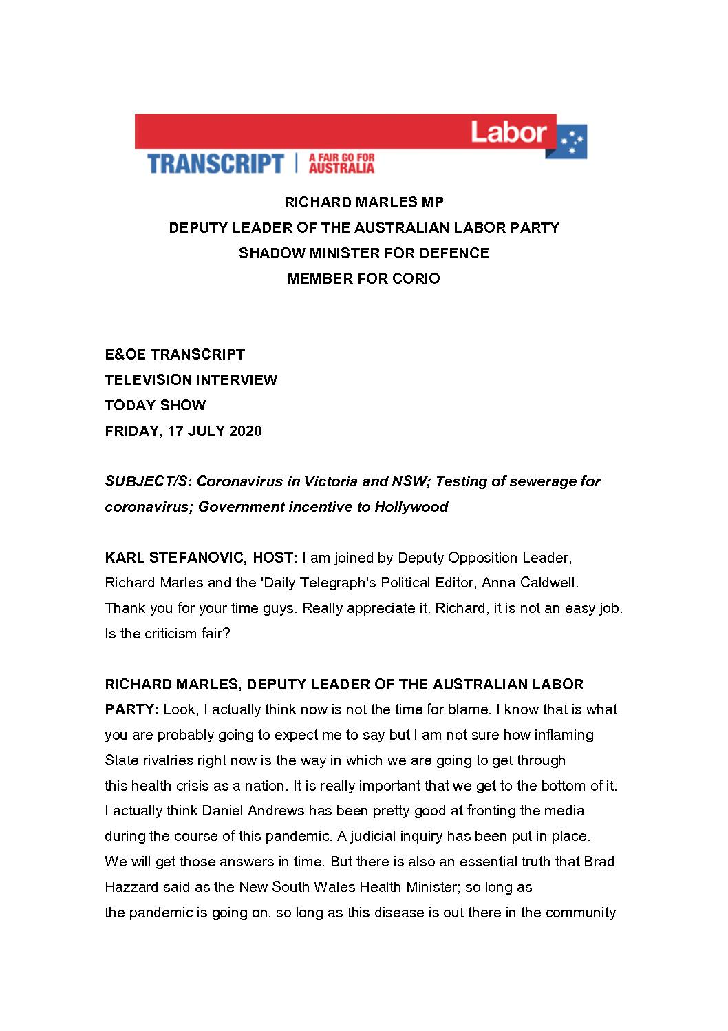 20.07.17-CHANNEL-9-THE-TODAY-SHOW-TRANSCRIPT