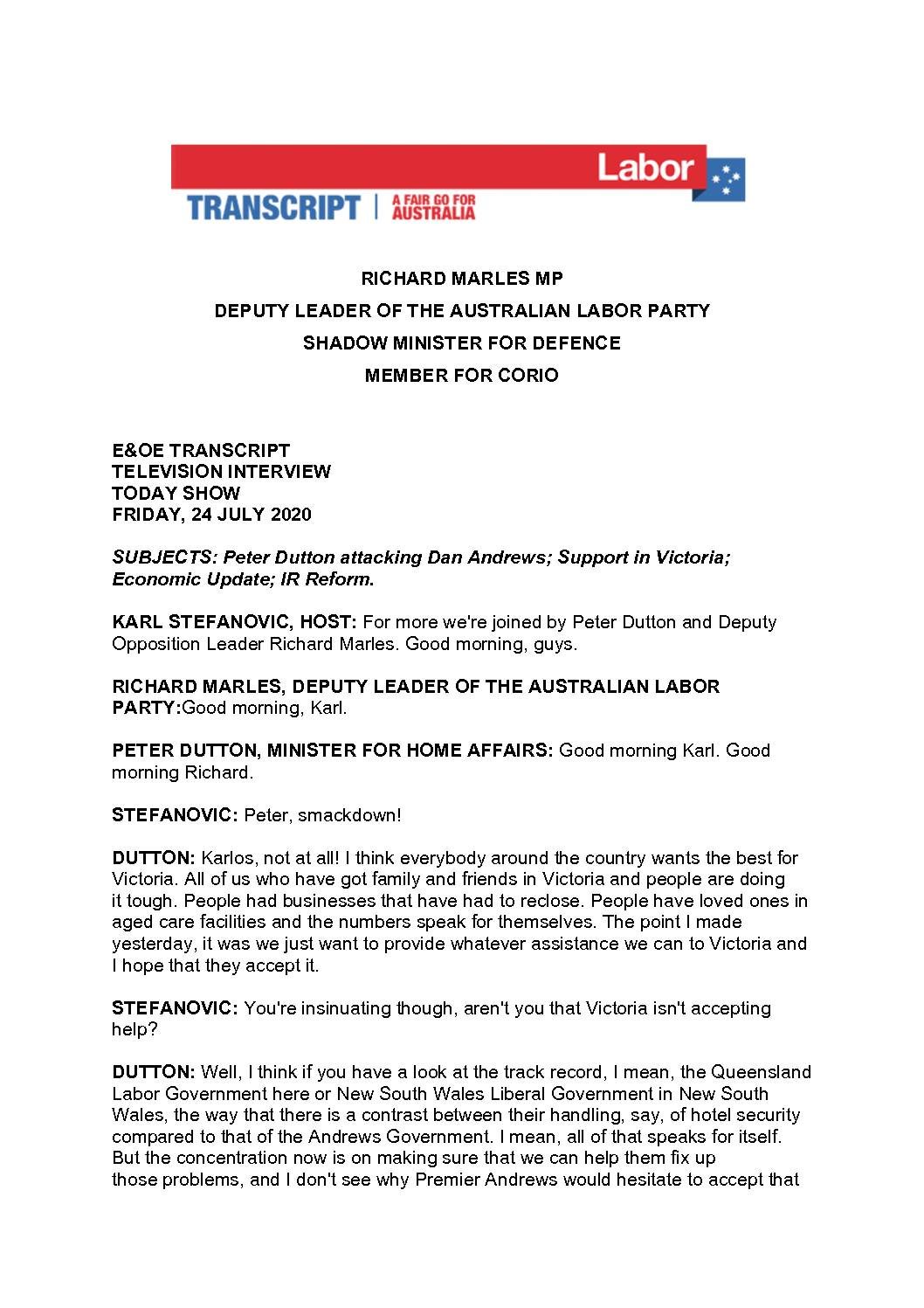 20.07.24-CHANNEL-9-THE-TODAY-SHOW-TRANSCRIPT