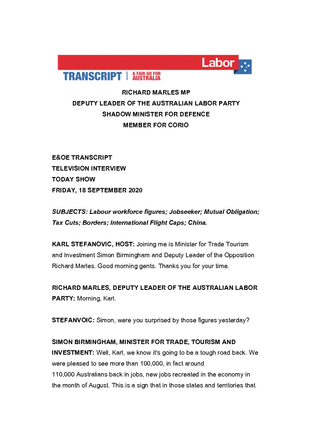20.09.18-CHANNEL-9-THE-TODAY-SHOW-TRANSCRIPT