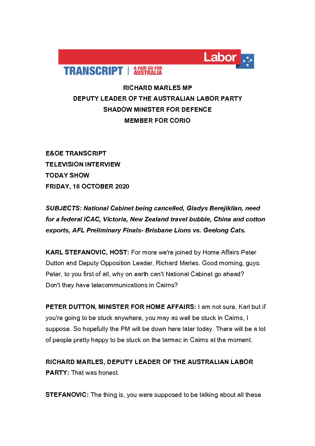 20.10.16-CHANNEL-9-THE-TODAY-SHOW-TRANSCRIPT