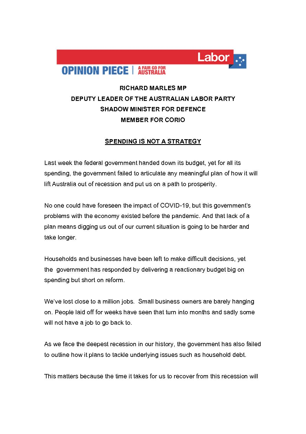 20.10.16-SPENDING-IS-NOT-OUR-STRATEGY-OPINION-PIECE
