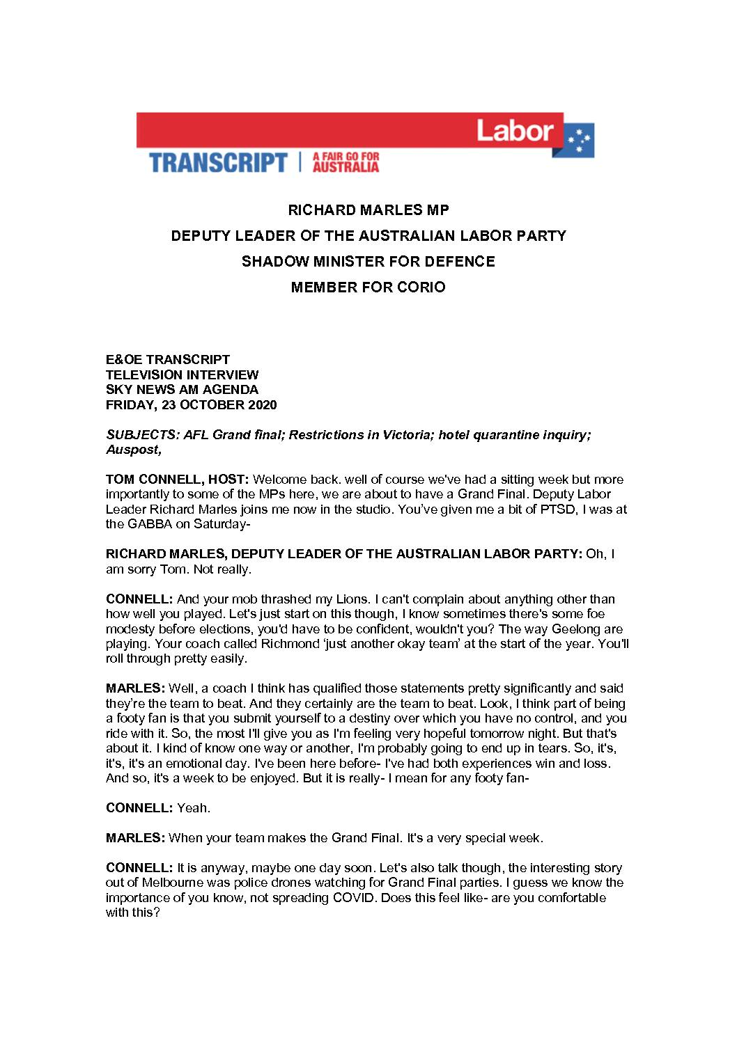 20.10.23-SKY-NEWS-AM-AGENDA-WITH-TOM-CONNELL-TRANSCRIPT